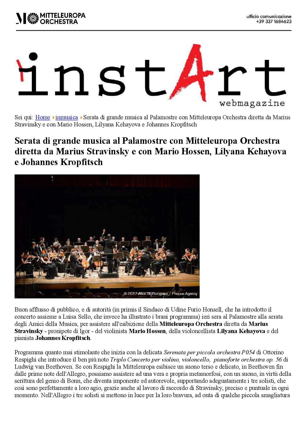 Beethoven Triple Concerto in Teatro Palamostre, Udine 2017, 1st Page